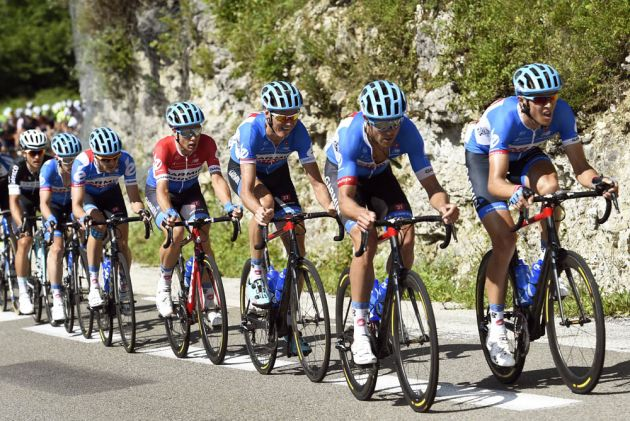 Garmin-Sharp chases on stage eleven of the 2014 Tour de France