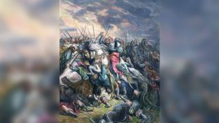 Richard the Lionhearted leads his Crusaders in battle against the Muslims at Arsuf.