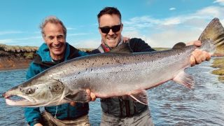 Robson and Jim's Icelandic Fly-Fishing Adventure: Robson Green and Jim Murray holding a Wild Atlantic Salmon.