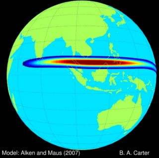 A naturally occurring electric current, called an electrojet, flows about 60 miles (100 km) above Earth's surface along the equator.