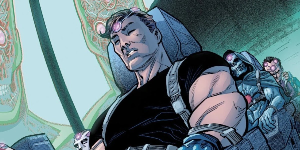 Maxwell Lord telepathically hacking Brainiac with Task Force XI