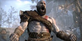 Kratos, angrily yelling in God of War.