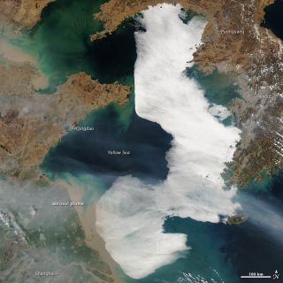 A thick fog covers an area the size of the Korean Peninsula over the Yellow Sea