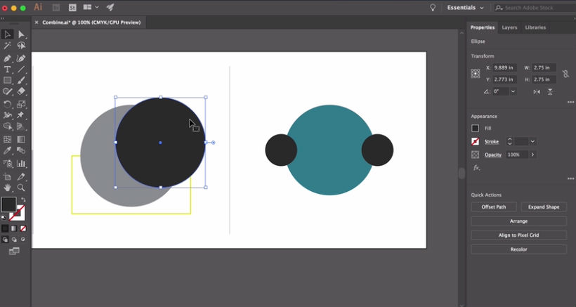 Illustrator tutorials: combining shapes