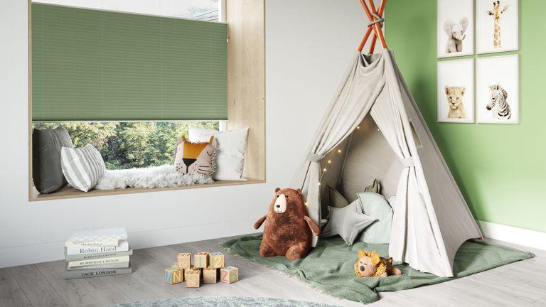 Green blind window treatment in kids bedroom by Swyft Direct Blinds