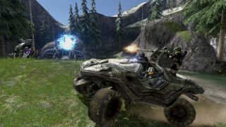 A damaged sci-fi jeep dodges plasma rounds from an alien tank