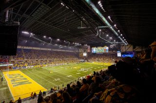 Sports fans at the Fargodome, an indoor athletic stadium and concert venue, enjoy the clarity of the upgraded audio system, which was designed and installed by AVI Systems.