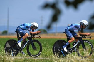 Lizzie Deignan and Ruth Winder during the team time trial stage 1 at the Giro d'Italia Donne
