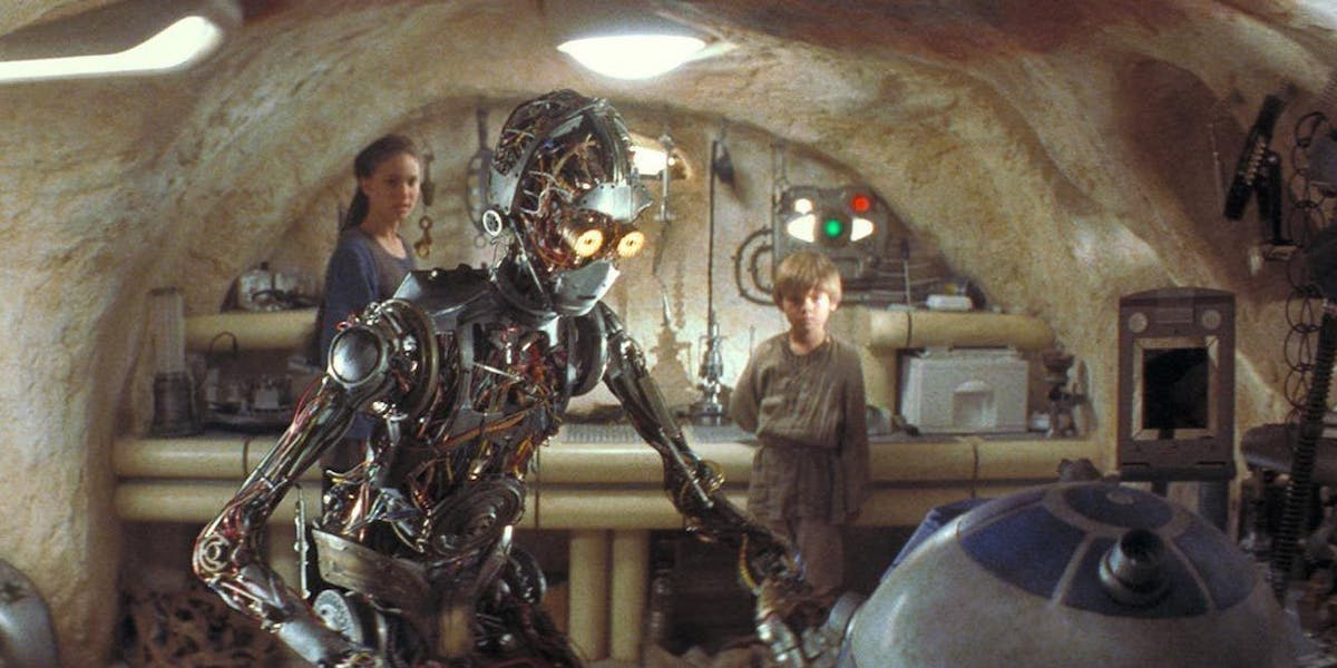 C-3PO and R2-D2, young Anakin in Star Wars: Phantom Menace