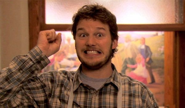 Chris Pratt is excited as Andy Dwyer on Parks And Recreation