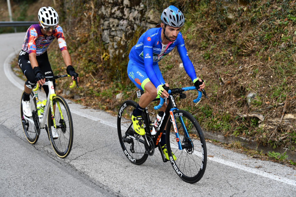 SAN DANIELE DEL FRIULI ITALY OCTOBER 20 Ruben Guerreiro of Portugal and Team EF Pro Cycling Giovanni Visconti of Italy and Team Vini Zabu KTM Blue Mountain Jersey Breakaway during the 103rd Giro dItalia 2020 Stage 16 a 229km stage from Udine to San Daniele Del Friuli 249m girodiitalia Giro on October 20 2020 in San Daniele Del Friuli Italy Photo by Tim de WaeleGetty Images