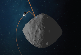 OSIRIS-REx is expected to collect a sample from asteroid Bennu on Oct. 20. This artist's concept shows the trajectory and configuration of the spacecraft during its matchpoint rehearsal.