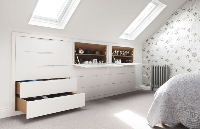 Drawers and shoe cupboards in loft storage bedroom