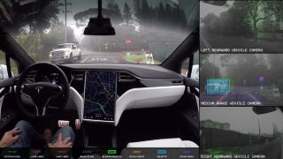 Tesla self-driving view