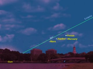 Four bright planets, with Mercury at greatest elongation, as seen from Boston, Mass., on the morning of May 7, 2011 before sunrise. Venus, Jupiter and Mars will also be visible.