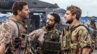 David Boreanaz and Max Thieriot having a standoff in SEAL Team.