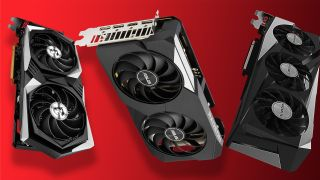 AMD Radeon RX 6600 XT cards on a red background