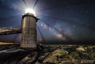Meteor, Milky Way and Venus over Lighthouse by Mike Taylor