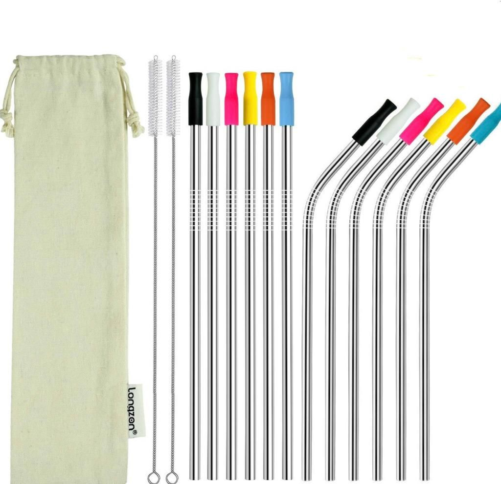longzon Metal Straw 12 Pack Stainless Steel Straws 8.5'' Eco Friendly Drinking