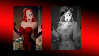 A comparison between Jessica Rabbit before and after her makeover.
