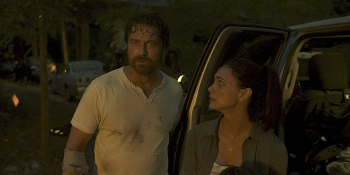 Gerard Butler and Morena Baccarin in Greenland