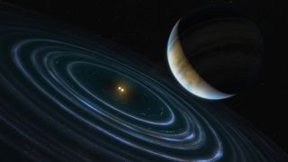 This artist's impression shows the exoplanet called HD 106906 b, which orbits a double star about 336 light-years away.