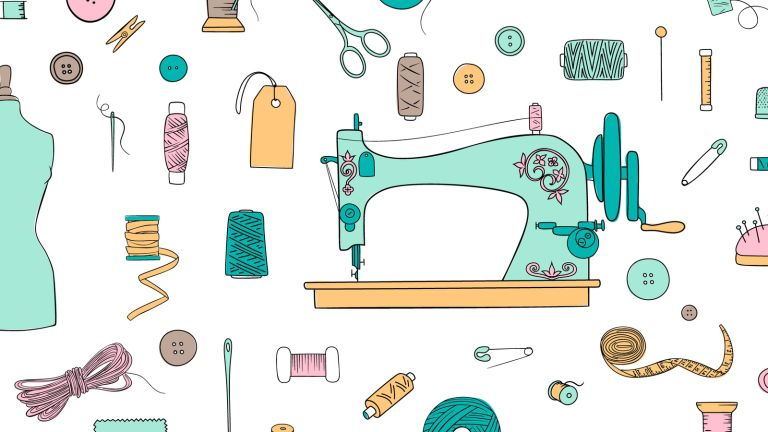 Sewing To Beat Stress: illustration sewing machine needles cotton crafting