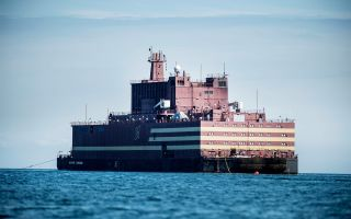 World's first floating nuclear power plant 'Akademik Lomonosov' passed Langeland, Denmark on May 4.
