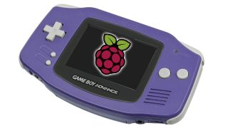 A purple Game Boy Advance with the Raspberry Pi logo on its screen