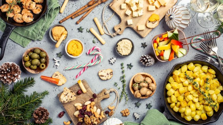 Christmas starter ideas: table of different foods