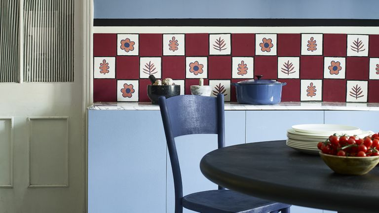 Dining table trends in a blue painted kitchen