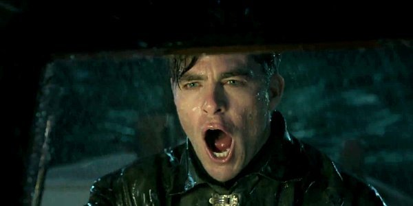 chris pine yelling in the rain The Finest Hours