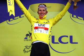 Tadej Pogaar of UAE Team Emirates remains in yellow jersey after stage 12