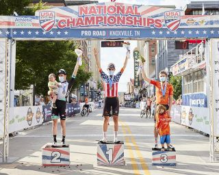 Joey Rosskopf (Rally Cycling) on the top step of the podium, with Brent Bookwalter (Team BikeExchange) in second and Kyle Murphy (Rally Cycling) in third at the men's elite road race at the USA Cycling Pro Road Championships 2021