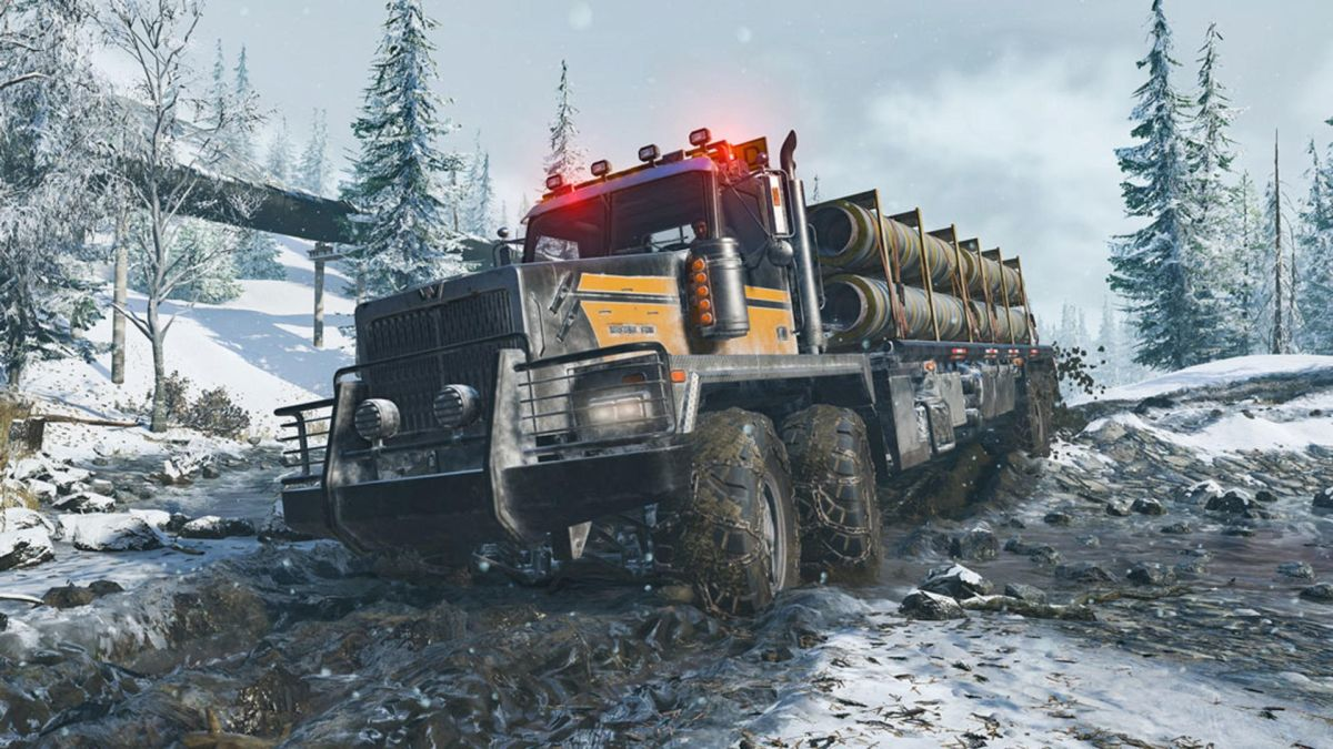 Snowrunner overview trailer showcases big trucks, big mud, and endgame content