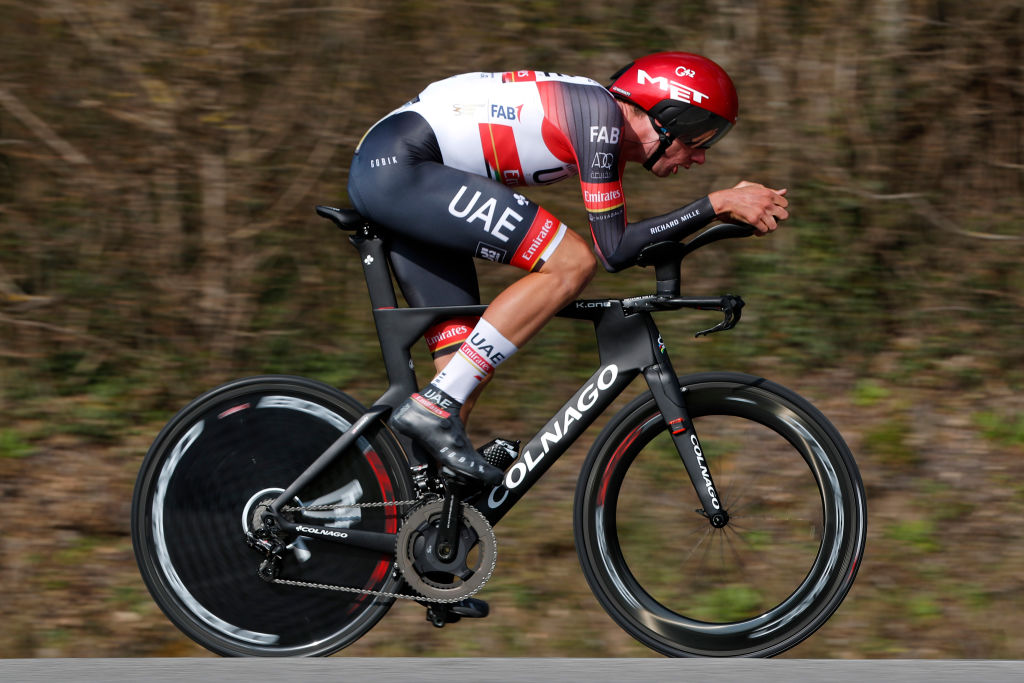 GIEN FRANCE MARCH 09 Brandon Mcnulty of United States and UAE Team Emirates during the 79th Paris Nice 2021 Stage 3 a 144km Individual Time Trial stage from Gien to Gien 147m ITT ParisNice on March 09 2021 in Gien France Photo by Bas CzerwinskiGetty Images