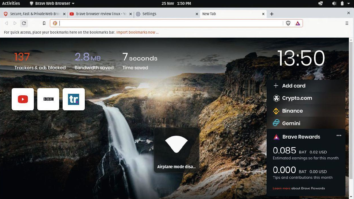 screenshot of the Brave browser