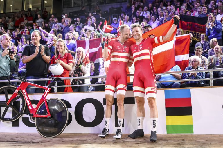 Michael Mørkøv and Lasse Norman Hansen celebrate becoming world champions in the Madison