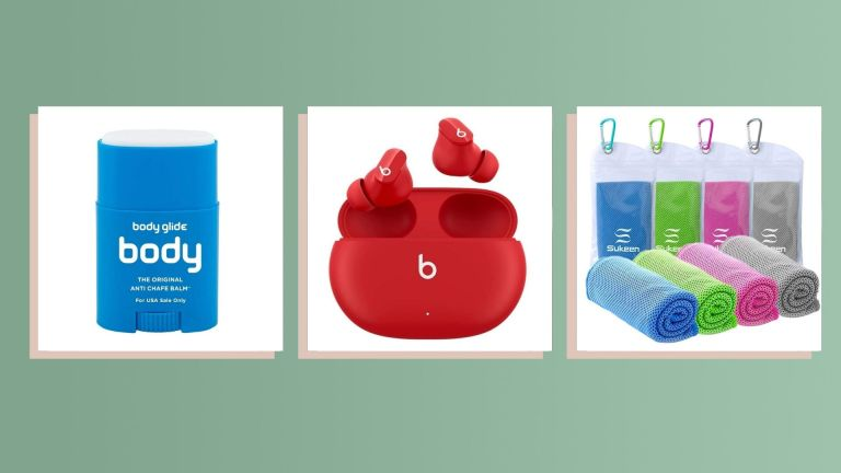 Best Gifts for runners: collage of Beats headphones, Glide Body, and Towel Set
