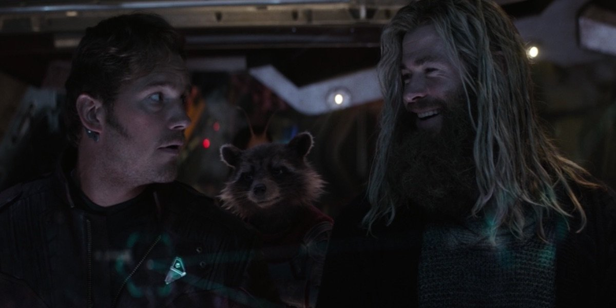 Quill, Rocket, and Thor during Endgame's ending