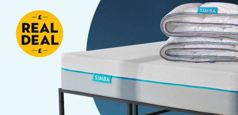 Simba mattress deal: Simba mattress with duvet on top with blue back ground