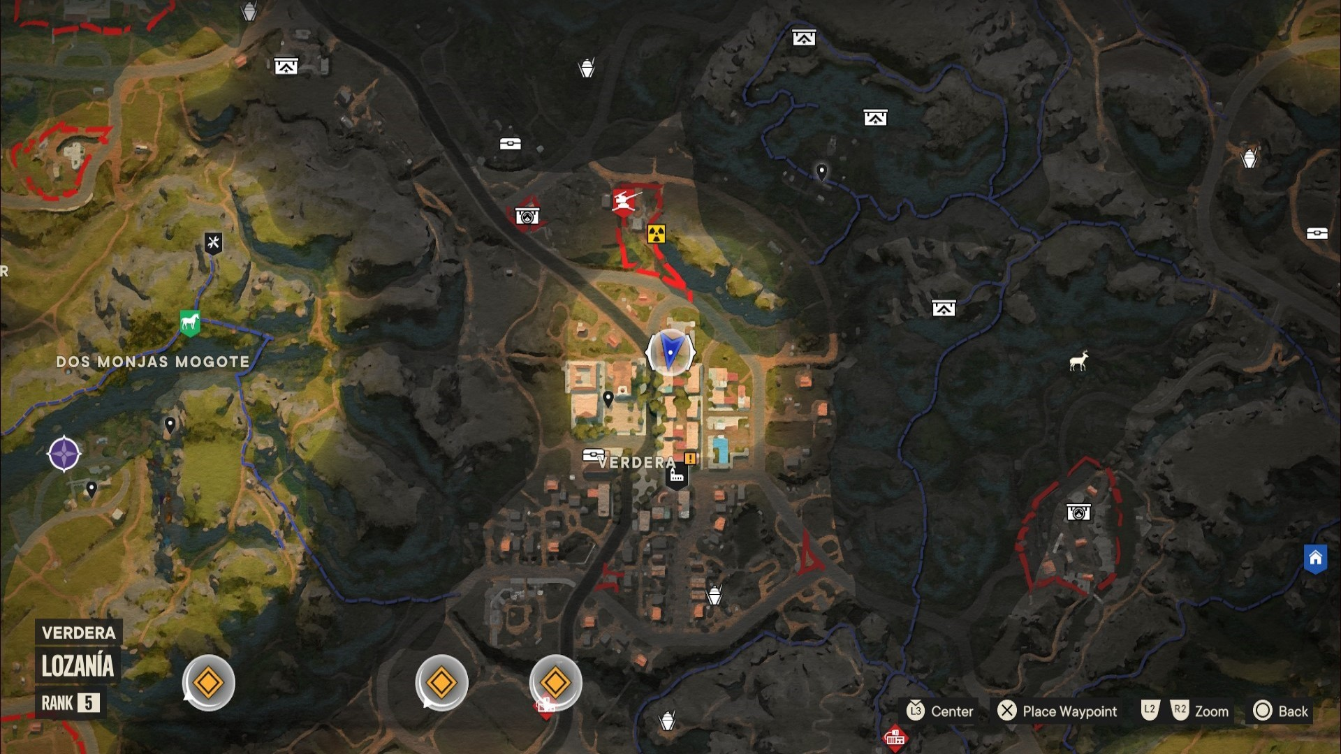 A Far Cry 6 Criptograma chest location marked on a map of Madrugada.
