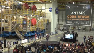 NASA Administrator Jim Bridenstine spoke in front of the first completed core stage of an SLS rocket on Dec. 9, 2019.