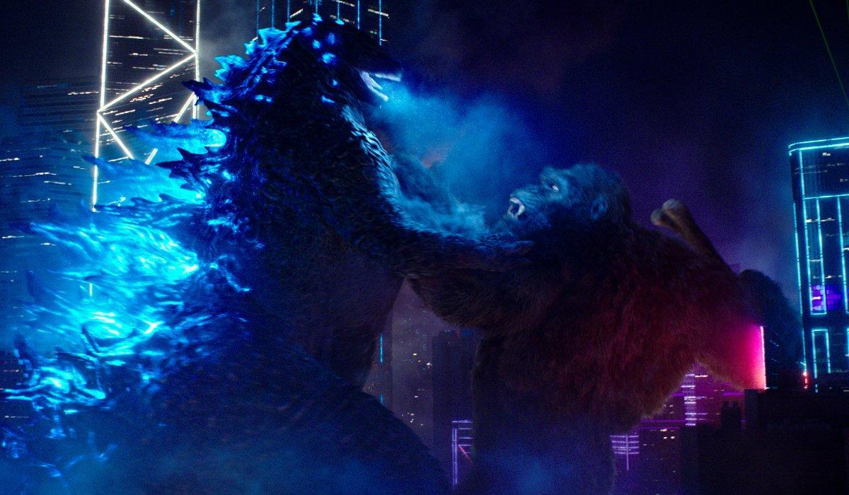 Kong prepares to shove the axe in Godzilla's mouth in Godzilla vs. Kong.