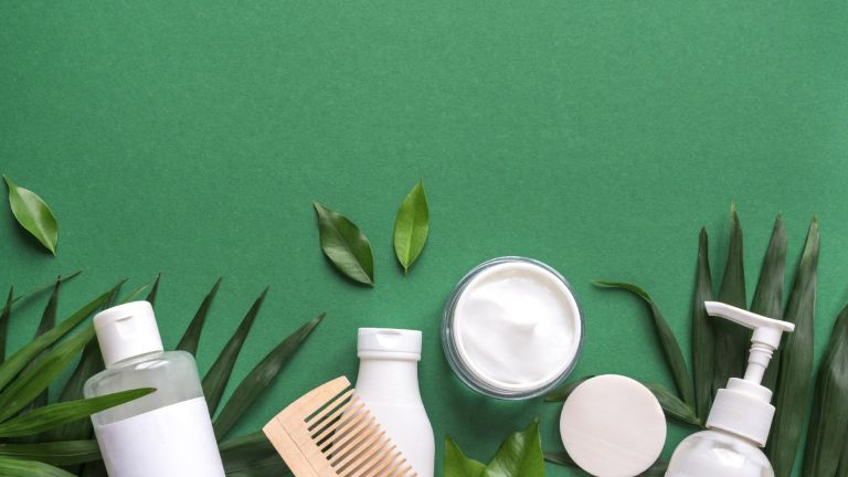 Selection of green vegan natural beauty products