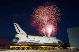 Fireworks welcome shuttle Atlantis to Kennedy Space Center