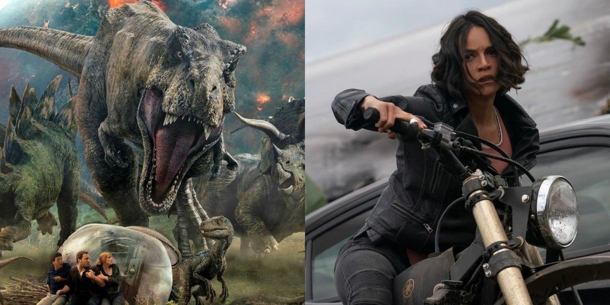 Jurassic World 2 T-rex and Michelle Rodriguez in F9
