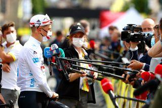 Tadej Pogacar (UAE Team Emirates) speaks the media at stage 3 of the Tour de France