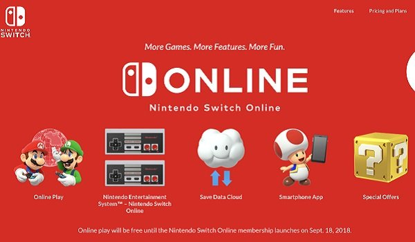 nintendo switch online homepage