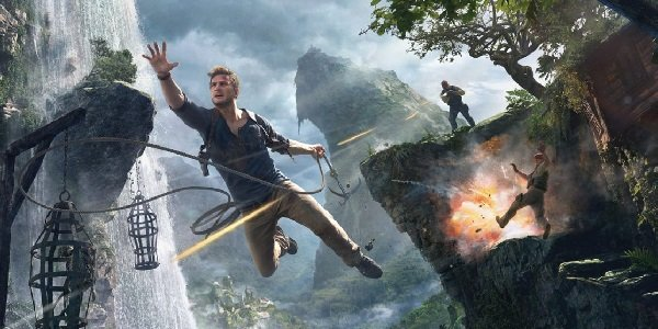 Nathan Drake swings out of harm's way in Uncharted 4.